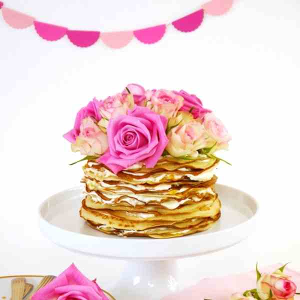 Crepe Cake with Rosewater - Marmelade Crea