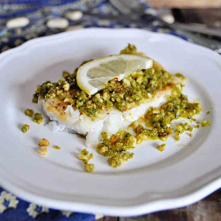 Pan Grilled Spanish Cod with Almond Picada