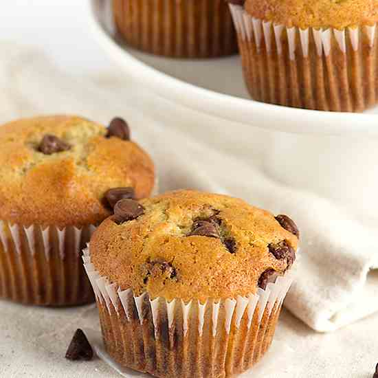 Roasted Banana Chocolate Chip Muffins
