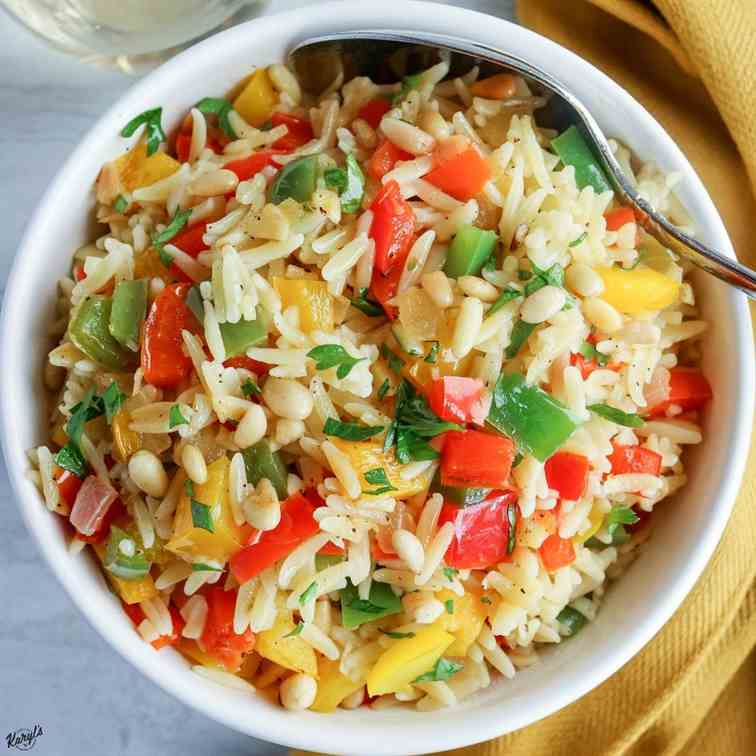Orzo with Onions, Garlic - Peppers