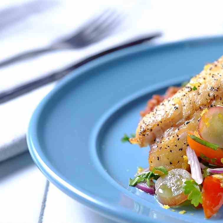 Pan-Fried Snapper Fillet with Fresh Grape