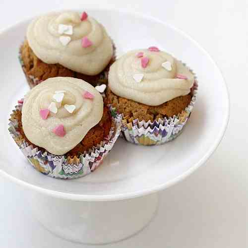 Almond Cupcakes with Salted Caramel Butter