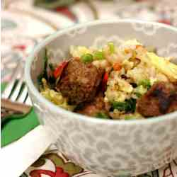 fried rice pilaf with Italian sausage