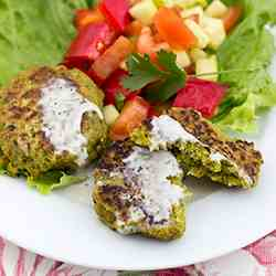 Chickpea Burgers with Tahini Dressing