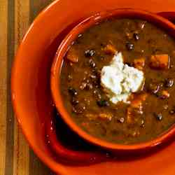 Vegetarian Black Bean & Sweet Potato Soup