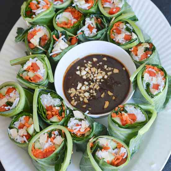 Collard Green Chicken Spring Rolls with Sp