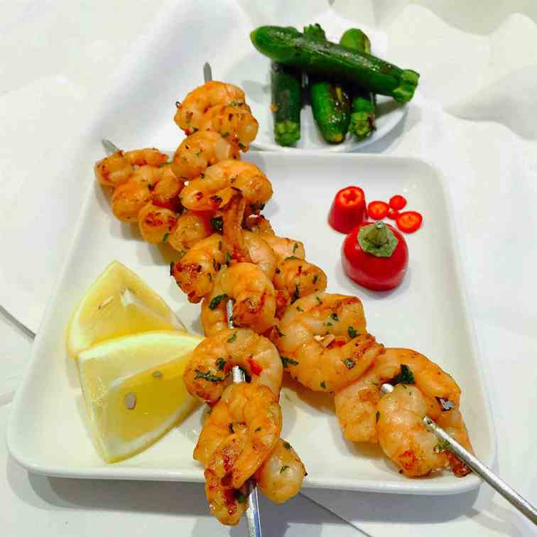 Exotic barbecued prawns