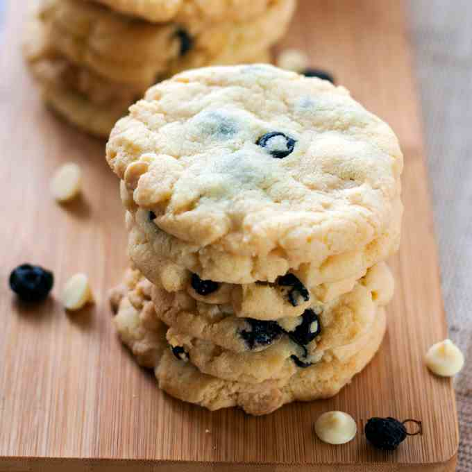 Buttery White Chocolate Blueberry Cookies