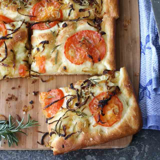Focaccia with Caramelized Onion & Tomato