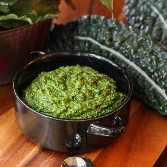 Kale Pesto with Walnuts or Hazelnuts