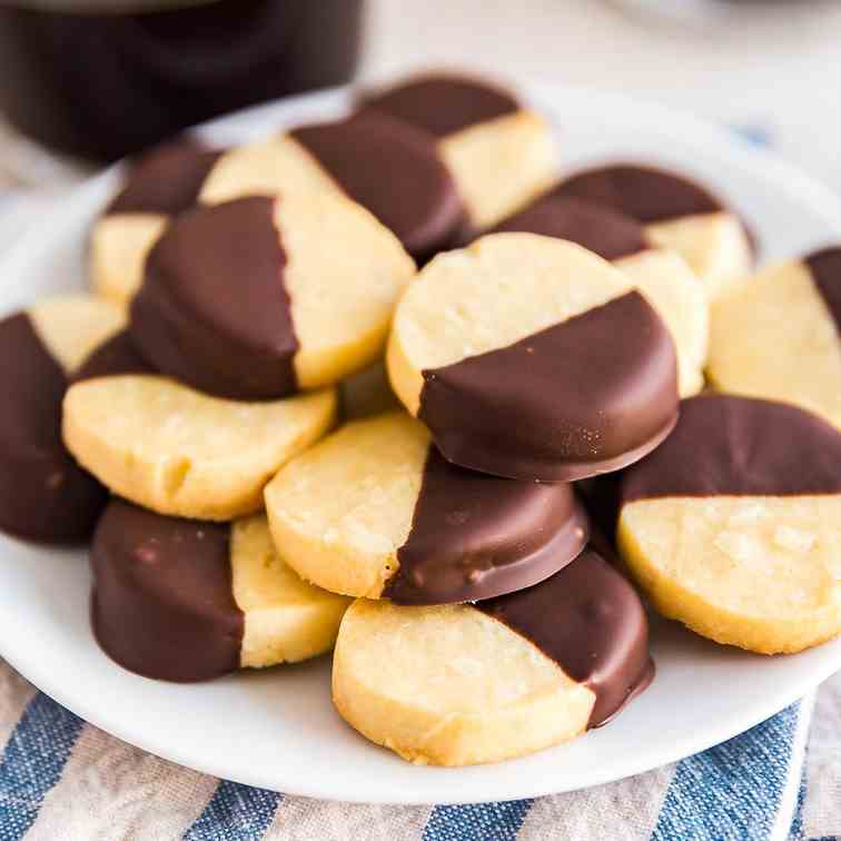 Chocolate Dipped Almond Shortbread Cookies
