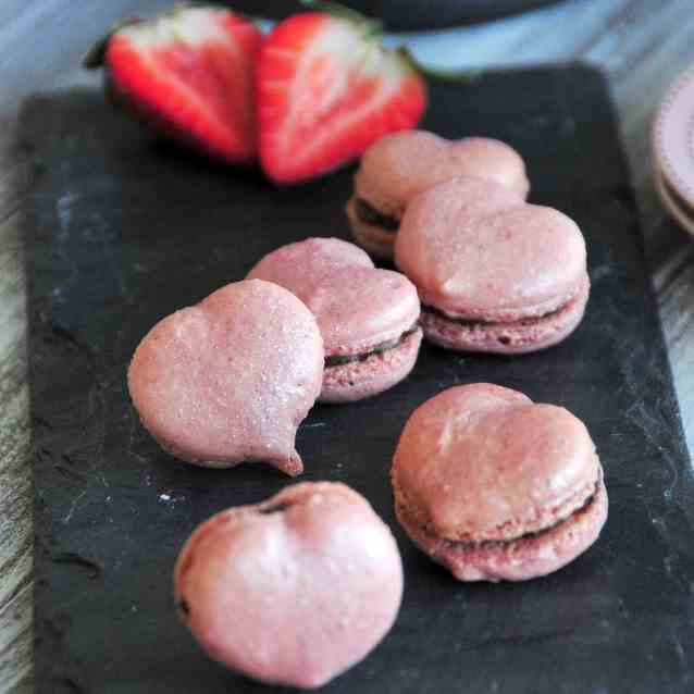 Strawberry Sweetheart Macarons
