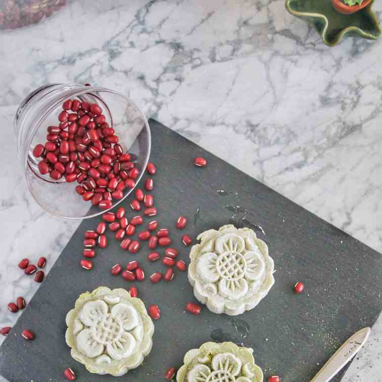 Matcha Red Bean Mooncakes