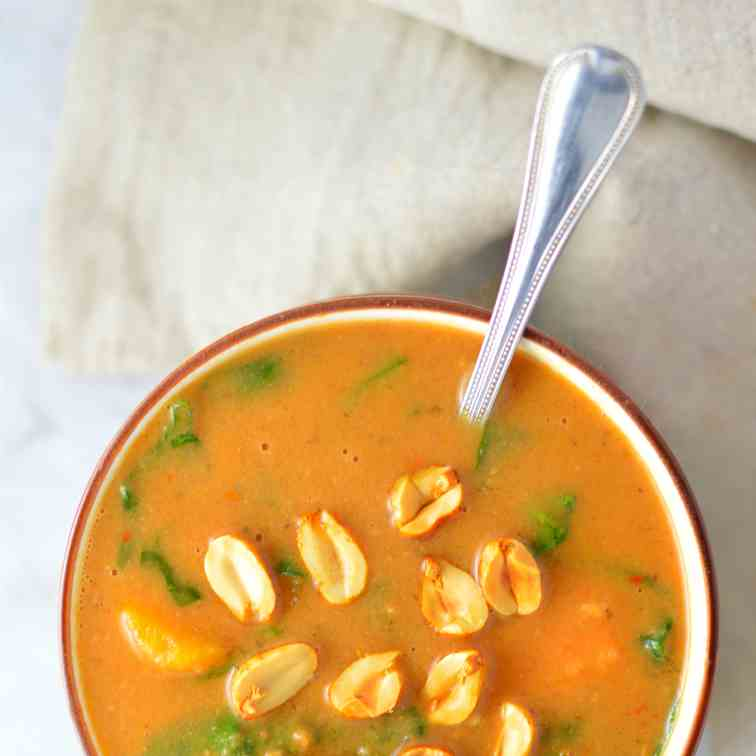 Slow Cooker Sweet Potato Peanut Soup