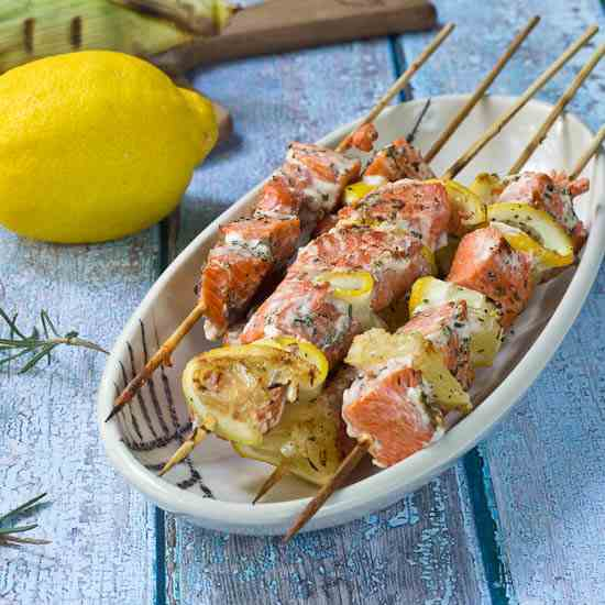 Salmon Kebabs with Rosemary