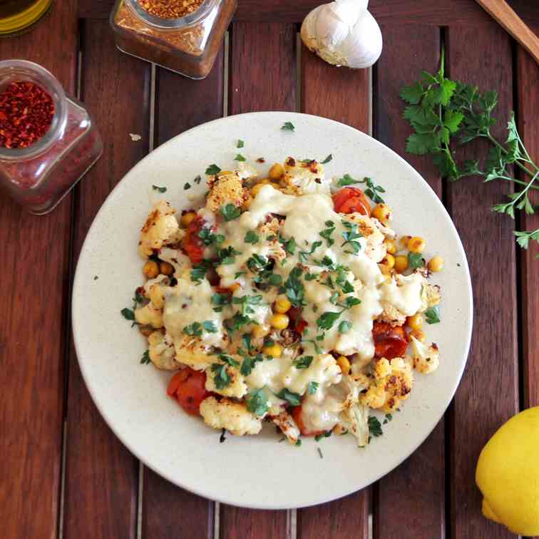 Roasted Cauliflower, Tomatoes and Chickpea