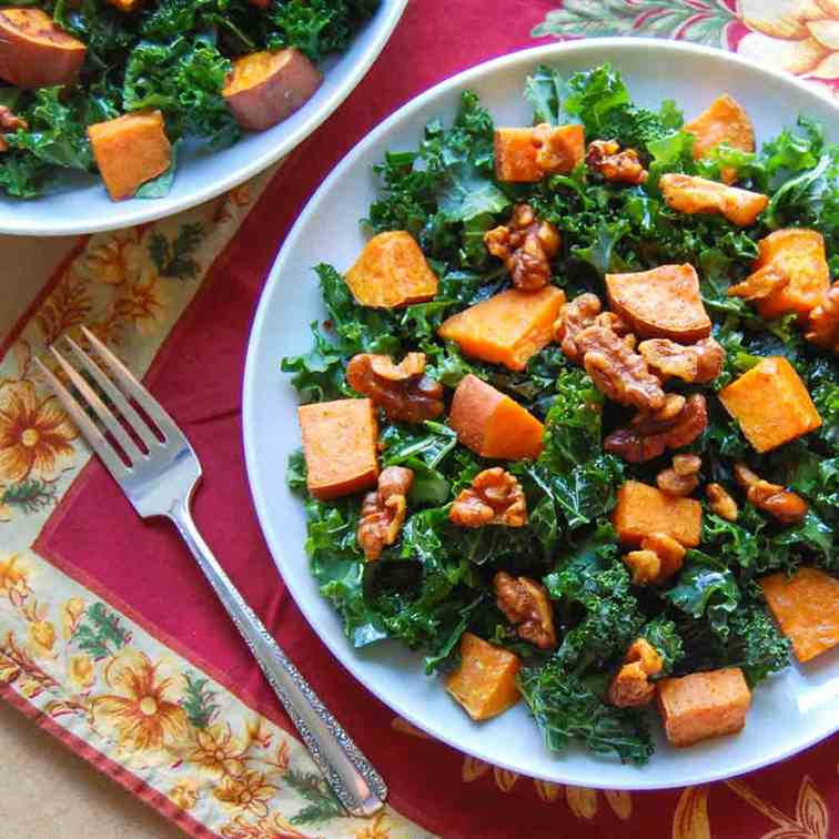 Sweet Potato and Kale Salad with Walnuts