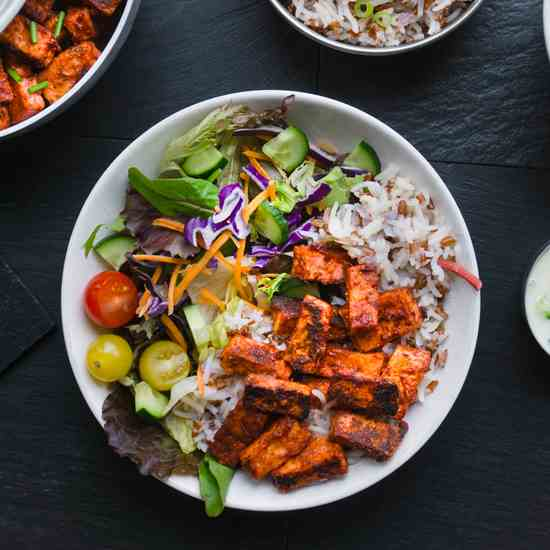 Vegan Tandoori Tofu with Rice - Salad
