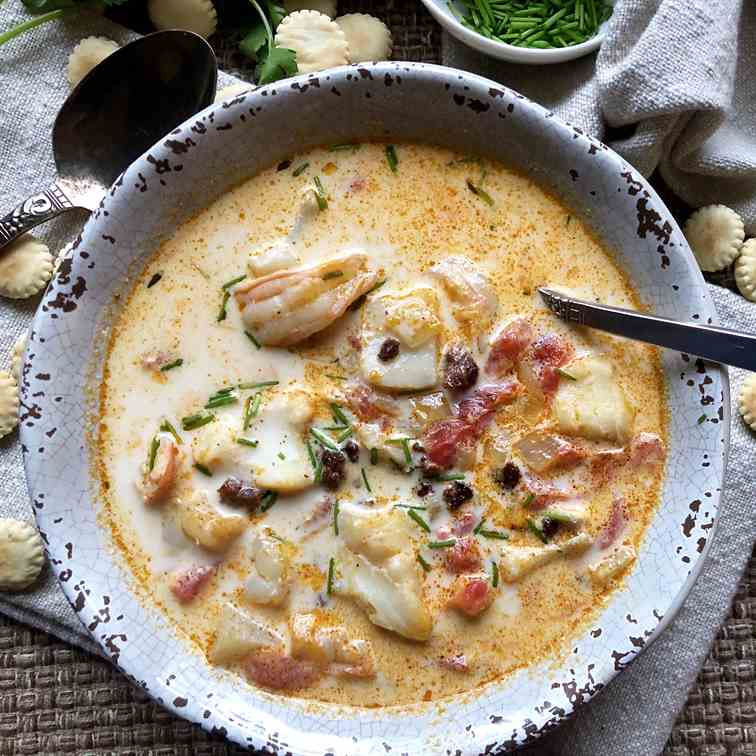 Blushing Seafood Chowder