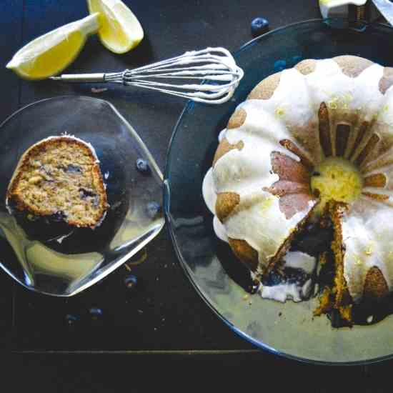 Banana Blueberry Bundt Cake