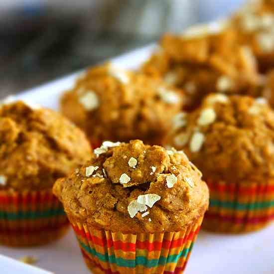 Vegan Healthy Banana Oatmeal Muffins