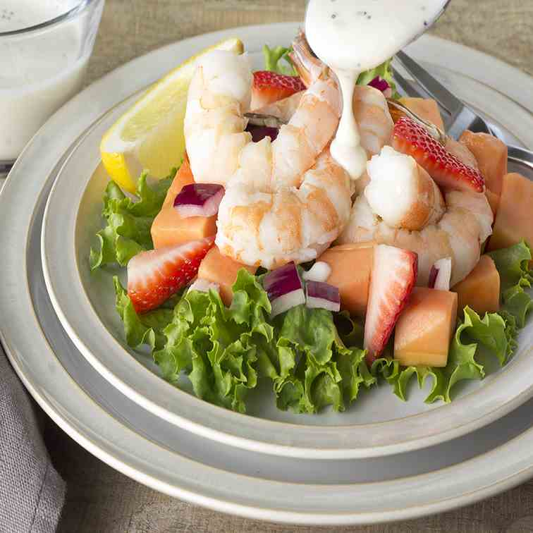 Shrimp Papaya Salad-Greek Yogurt Dressing