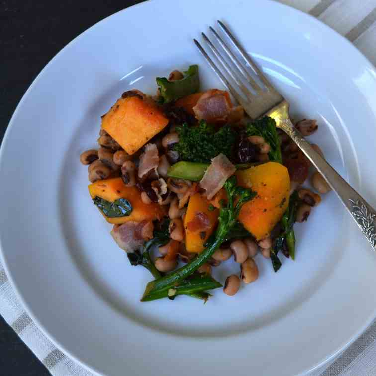 Black Eyed Peas and Butternut Squash Salad
