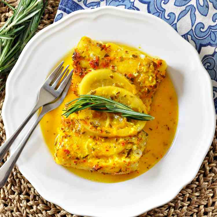 Oven Roasted Cod with Saffron - Lemon
