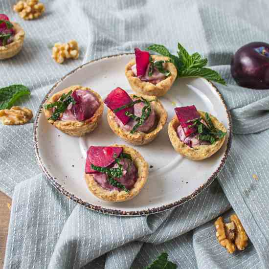 Savory Plum and Goat Cheese Tarts