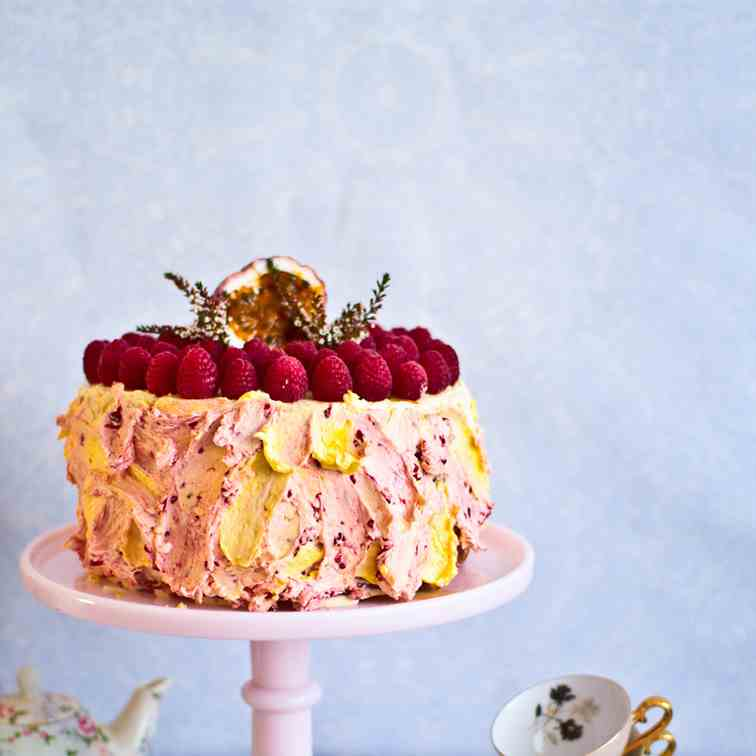 Passionfruit Raspberry Layer Cake