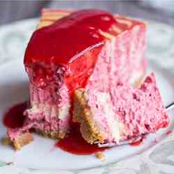 Strawberry zebra-striped cheesecake