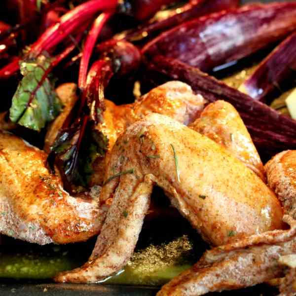 Roasted Chicken Wings and baby Beetroot