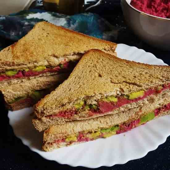 Vegan Beetroot Hummus - Avocado Sandwich