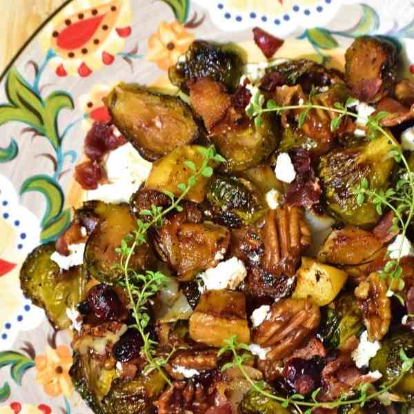 Fruity Nutty Crispy Brussels Sprouts