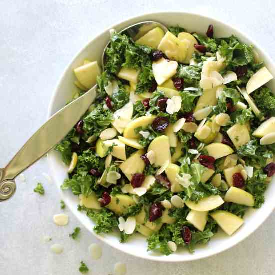 Kale Apple Cranberry Salad Sesame Dressing