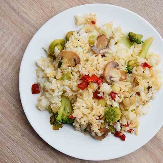 Vegetable Fried Rice With Mushrooms