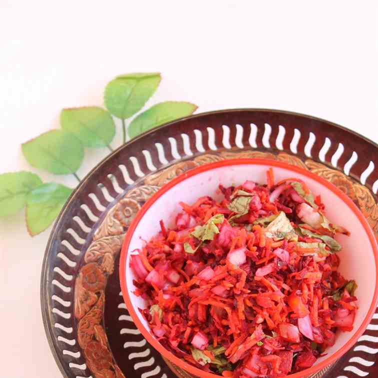 Healthy Salad With Beet, Carrot, Tomatoes