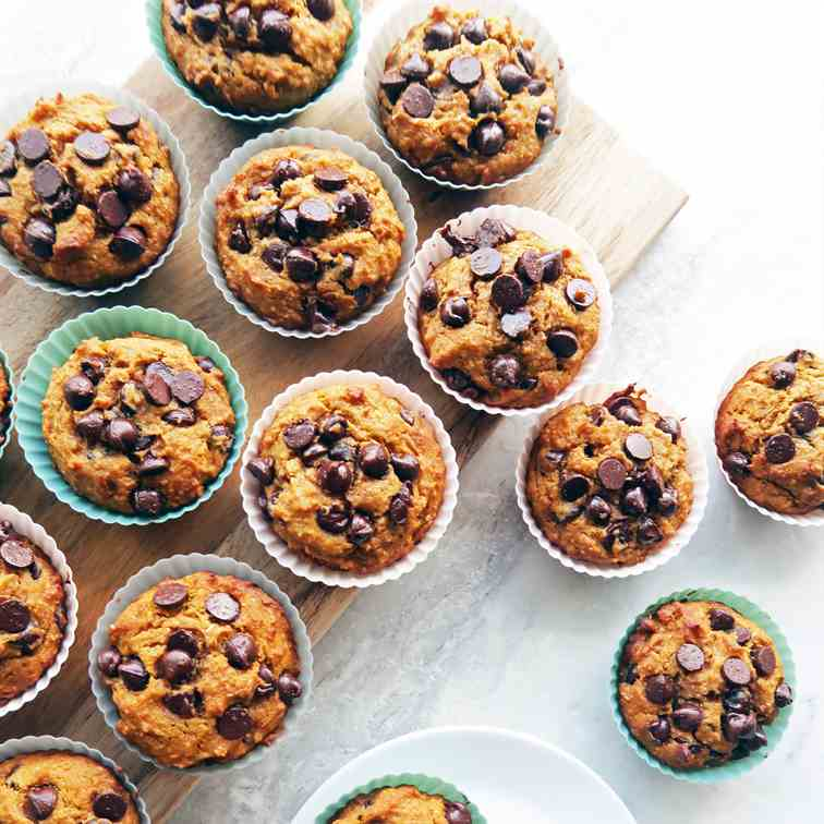 Pumpkin Chocolate Chip Whole Wheat Muffins