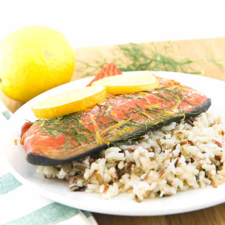 Lemon Dill Plank Salmon-