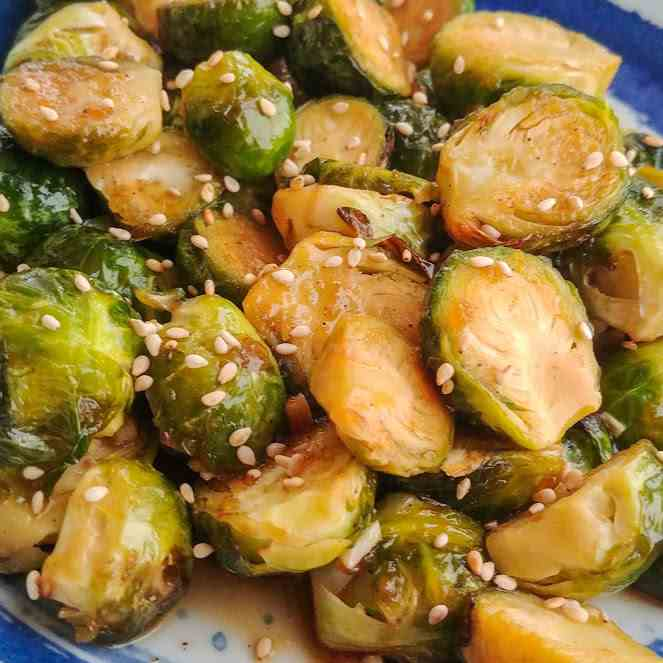 Korean BBQ Flavored Brussels Sprouts