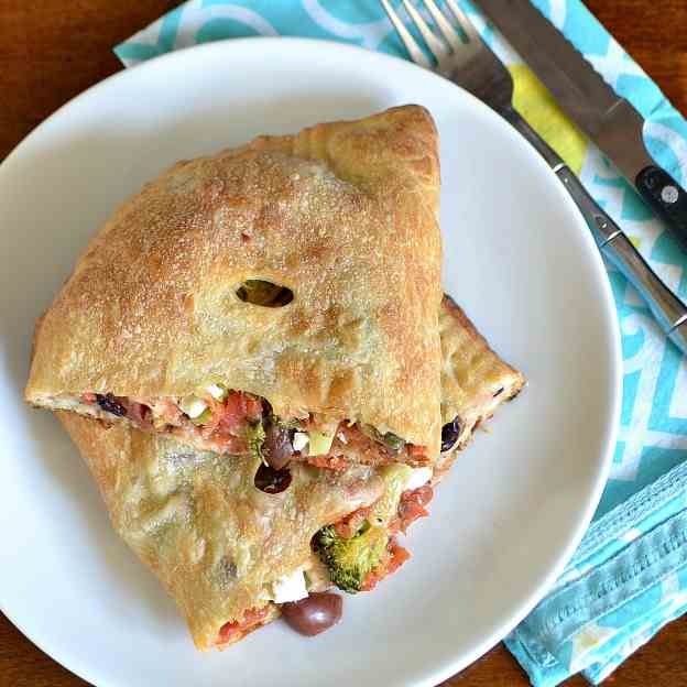 Broccoli, Feta, and Olive Calzones