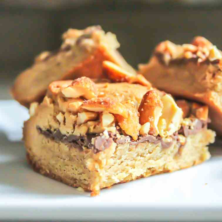Chewy Peanut Butter and Nutella Cookie Bar
