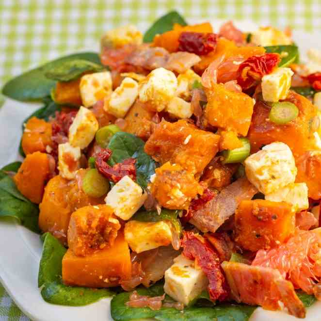 Pumpkin and Feta Salad with Bacon