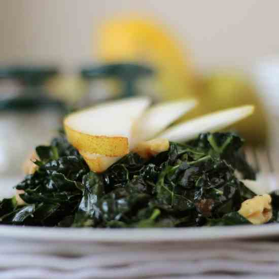 Kale Salad with Pears and Walnuts