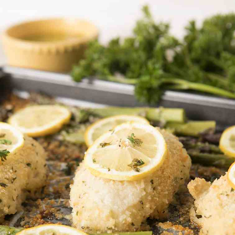 Lemon Parmesan Chicken and Asparagus