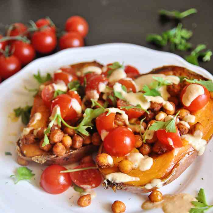 Stuffed Sweet Potatoes with Garbanzos