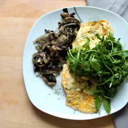 Omelette and Mushroom with Caramelised
