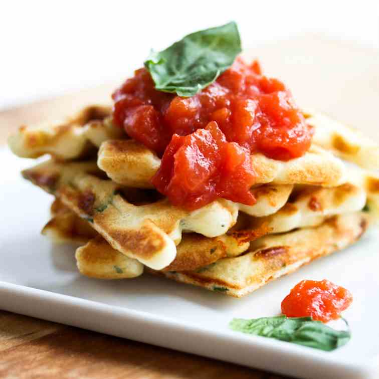 Loaded Bacon, Cheddar and Basil Waffles wi