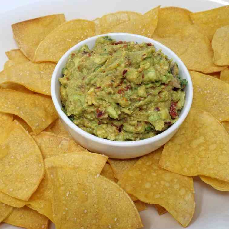 Baked Chips with Smoky Chipotle Guacamole