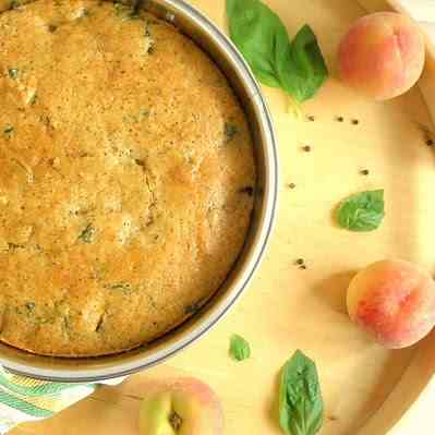 Peach, Black Pepper & Basil Cake